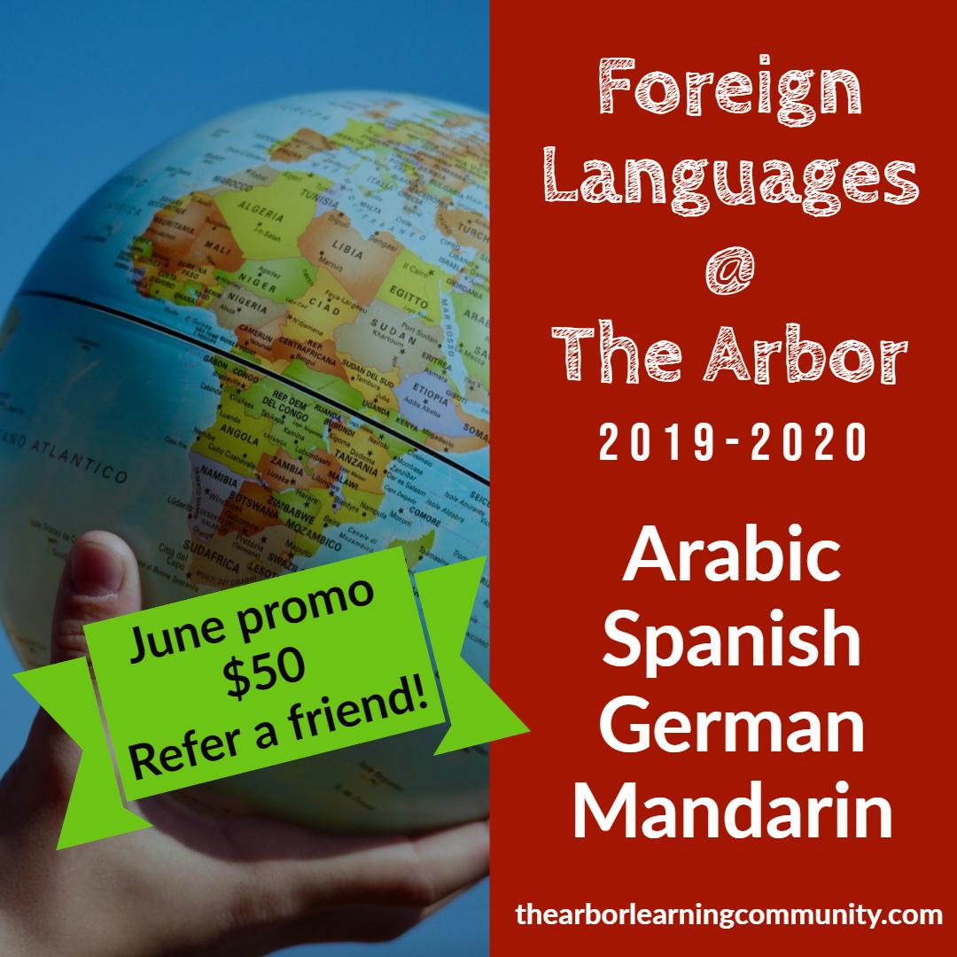 Foreign languages Arabic, Spanish, German and mandarin